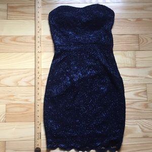 Strapless Navy Blue Lace Mini Dress